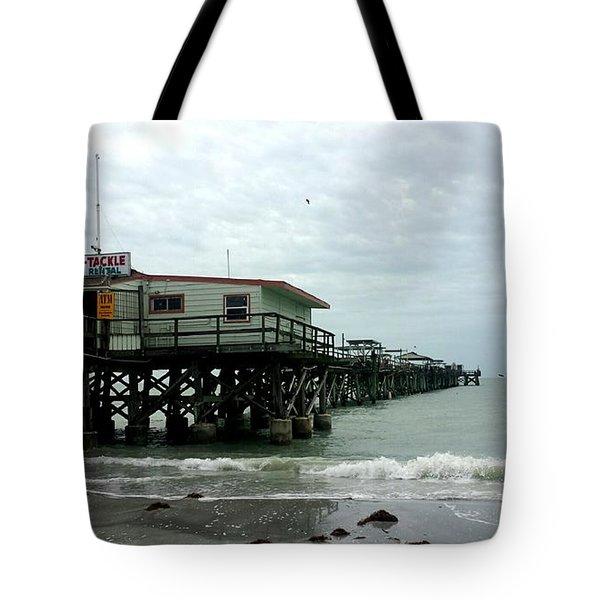 Redington Beach, Florida Fishing Pier Tote Bag by Scott D Van Osdol