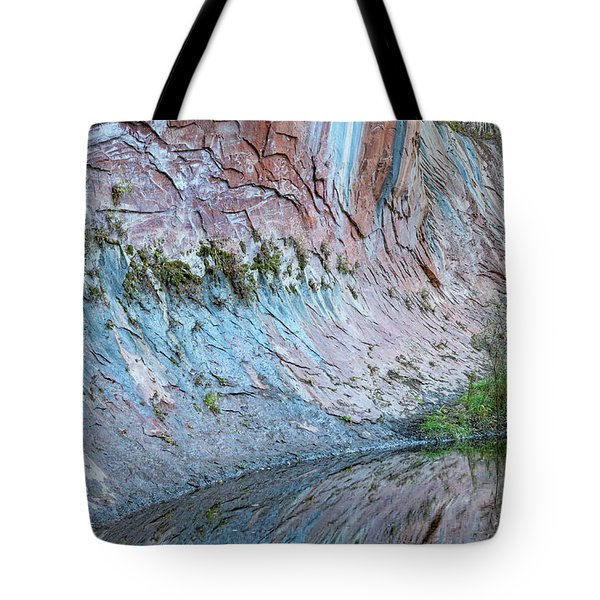 Tote Bag featuring the photograph Reflections In Oak Creek Canyon by Sandra Bronstein