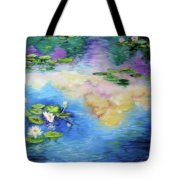 Reflections On A Waterlily Pond Tote Bag