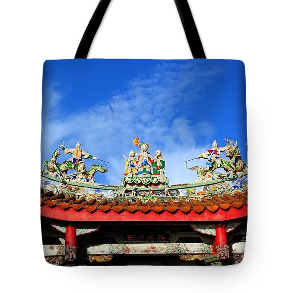 Tote Bag featuring the photograph Richly Decorated Chinese Temple Roof by Yali Shi