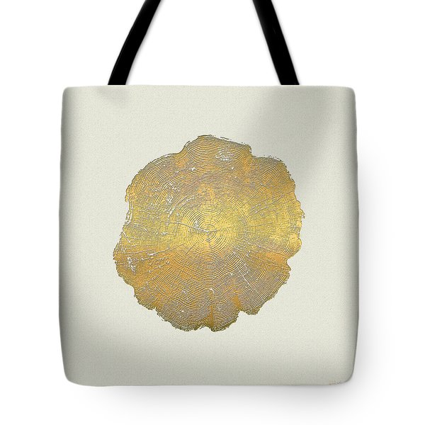 Rings Of A Tree Trunk Cross-section In Gold On Linen  Tote Bag by Serge Averbukh