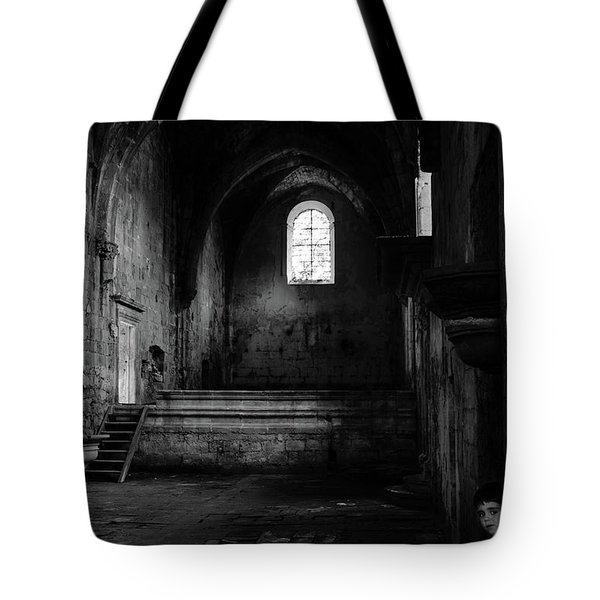 Tote Bag featuring the photograph Rioseco Abandoned Abbey Nave Bw by RicardMN Photography