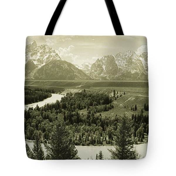 River Flowing Through A Landscape Tote Bag
