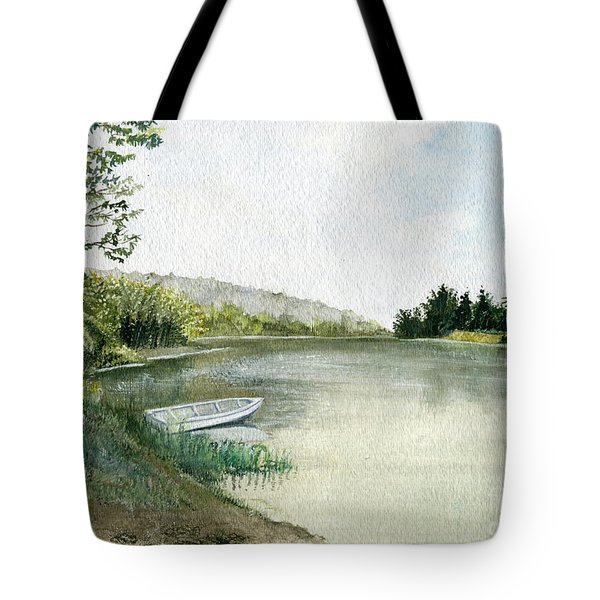 Tote Bag featuring the painting River Light by Melly Terpening