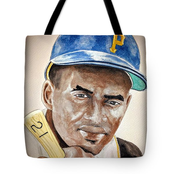 Roberto Clemente - Watercolor Painting Tote Bag by Edwin Alverio