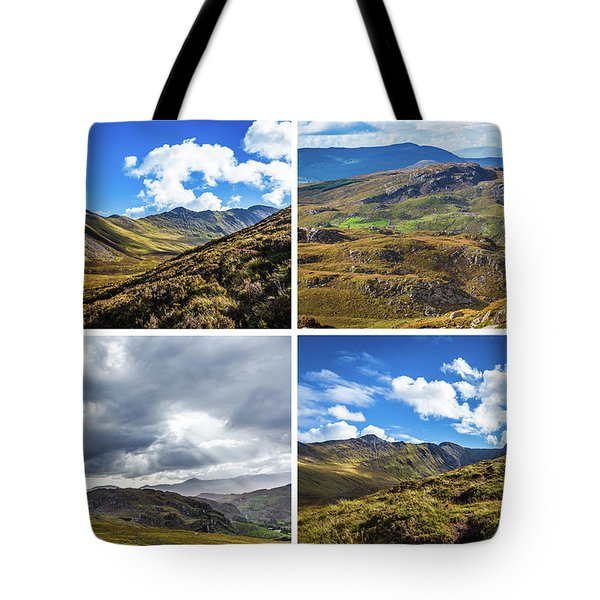 Tote Bag featuring the photograph Postcard Of Rock Formation Landscape With Clouds And Sun Rays In Ireland by Semmick Photo