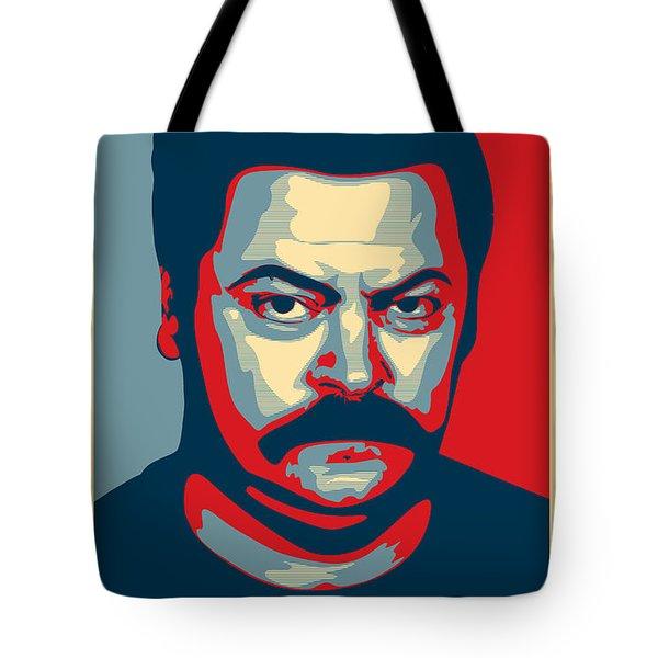 Tote Bag featuring the digital art Ron Swanson by Taylan Apukovska