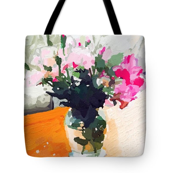 Roses In The Living Room Tote Bag by Melissa Abbott