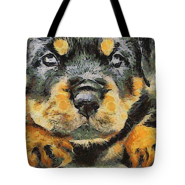 Rottweiler Puppy Portrait Tote Bag by Tracey Harrington-Simpson