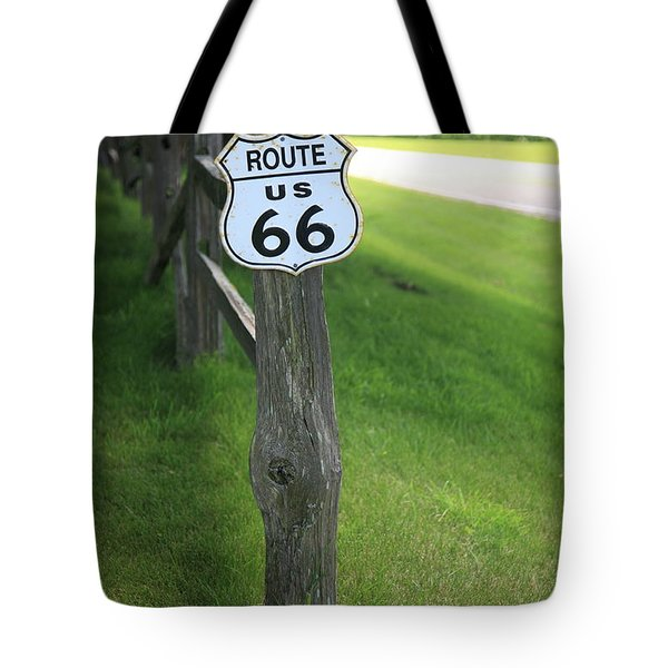 Tote Bag featuring the photograph Route 66 Shield And Fence Post by Frank Romeo