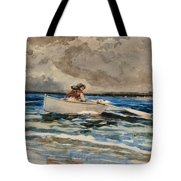Rowing At Prouts Neck Tote Bag by Winslow Homer