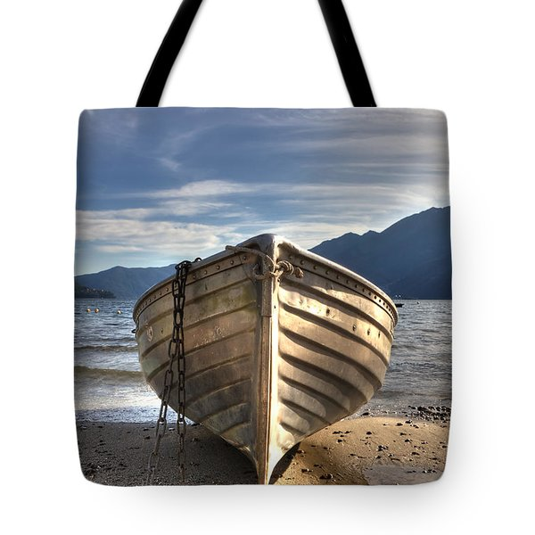 Rowing Boat On Lake Maggiore Tote Bag by Joana Kruse