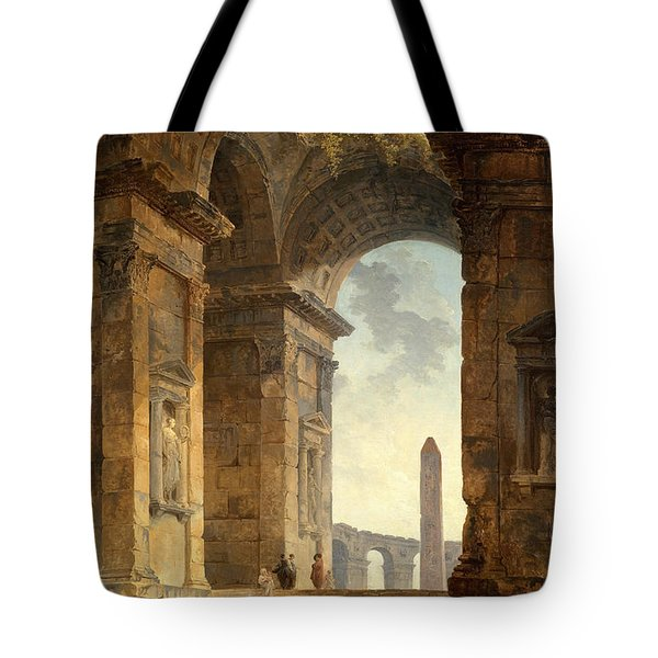 Ruins With An Obelisk In The Distance Tote Bag