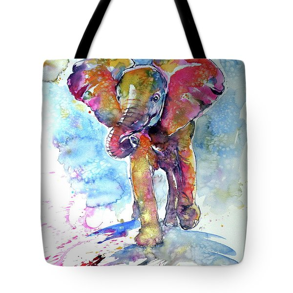 Running Elephant Baby Tote Bag
