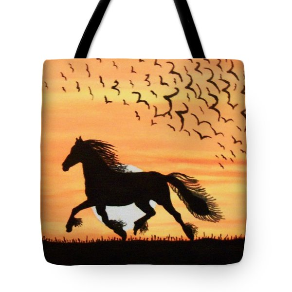 Tote Bag featuring the painting Running In The Wind by Connie Valasco
