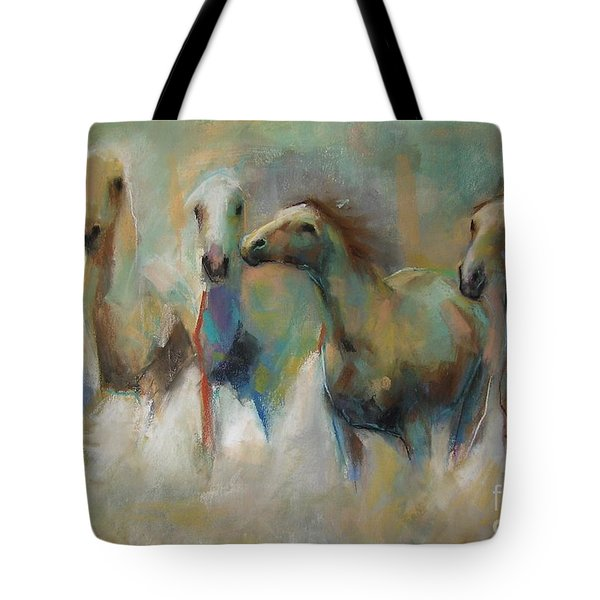 Running With The Palominos Tote Bag by Frances Marino