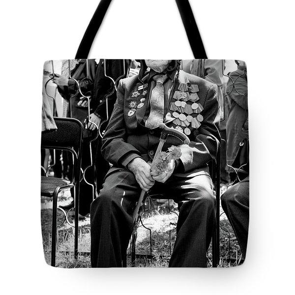 Tote Bag featuring the photograph Russian World War II Veteran Tank Commander by John Williams