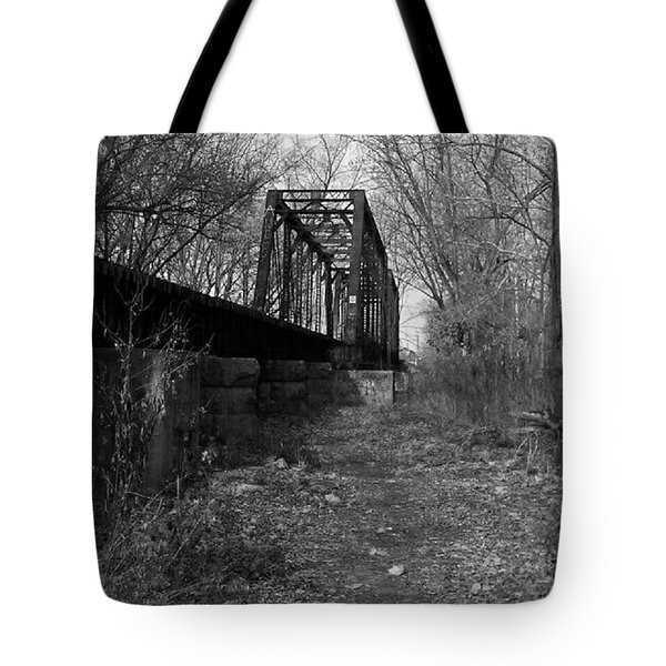 Rusty Railroad Trestle Bridge - Bw Tote Bag