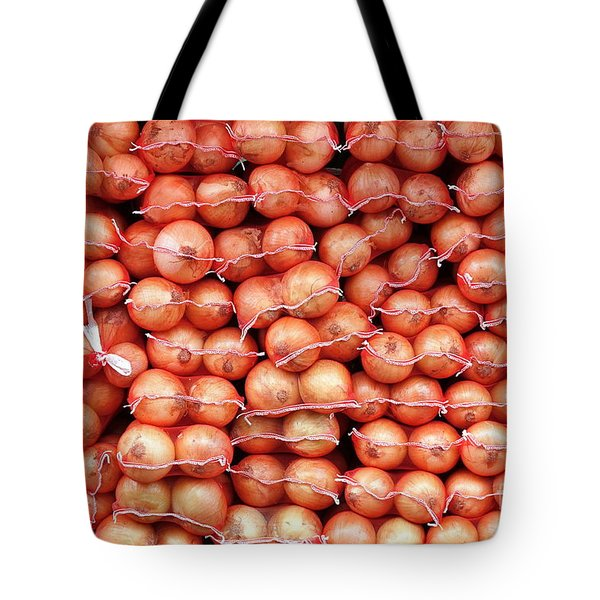 Tote Bag featuring the photograph Sacks Of Onions by Yali Shi
