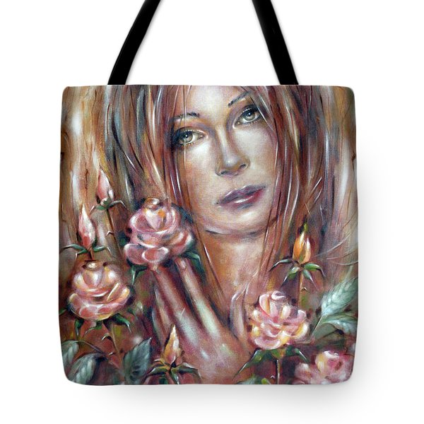 Sad Venus In A Rose Garden 060609 Tote Bag by Selena Boron