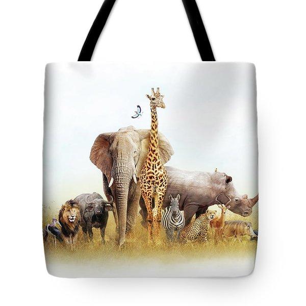 Safari Animals In Africa Composite Tote Bag