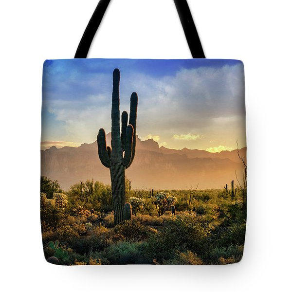 Tote Bag featuring the photograph Saguaro Sunrise In The Superstitions  by Saija Lehtonen