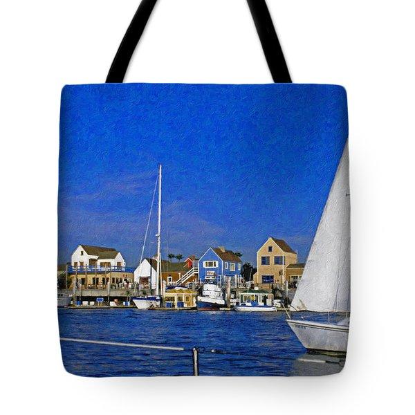 Tote Bag featuring the photograph Sailing Marina Del Rey Fisherman's Village by David Zanzinger