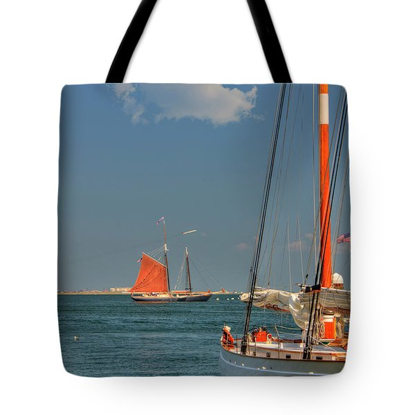 Tote Bag featuring the photograph Sailing On Boston Harbor by Joann Vitali