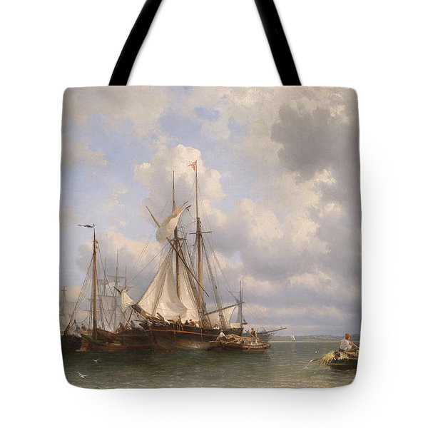 Sailing Ships In The Harbor Tote Bag by Anthonie Waldorp