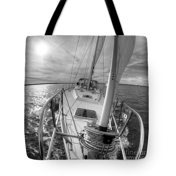 Sailing Yacht Fate Beneteau 49 Black And White Tote Bag