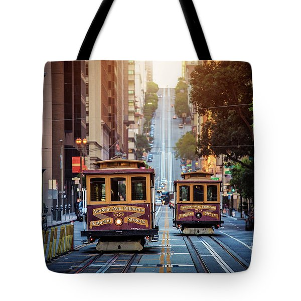 San Francisco Cable Cars Tote Bag by JR Photography