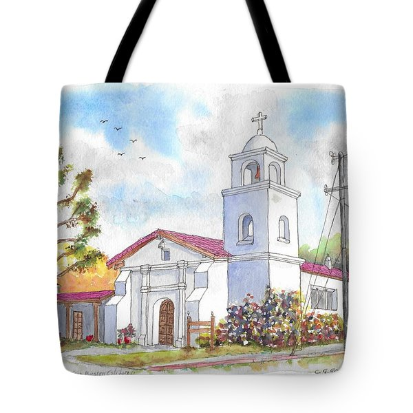 Santa Cruz Mission, Santa Cruz, California Tote Bag