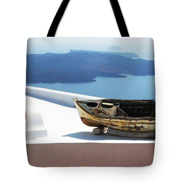 Santorini Greece Tote Bag by Bob Christopher