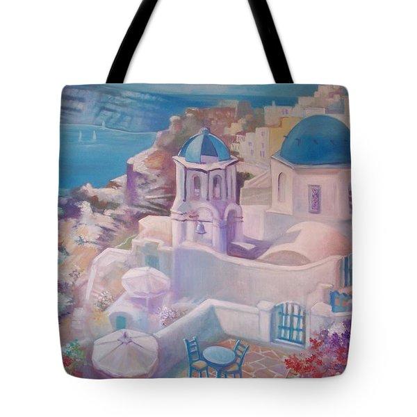 Santorini Greece Tote Bag by Paul Weerasekera