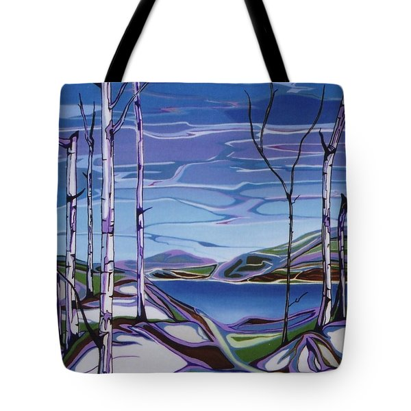 Tote Bag featuring the painting Sardi Lake by Pat Purdy