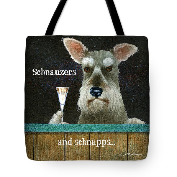 Tote Bag featuring the painting Schnauzers And Schnapps... by Will Bullas