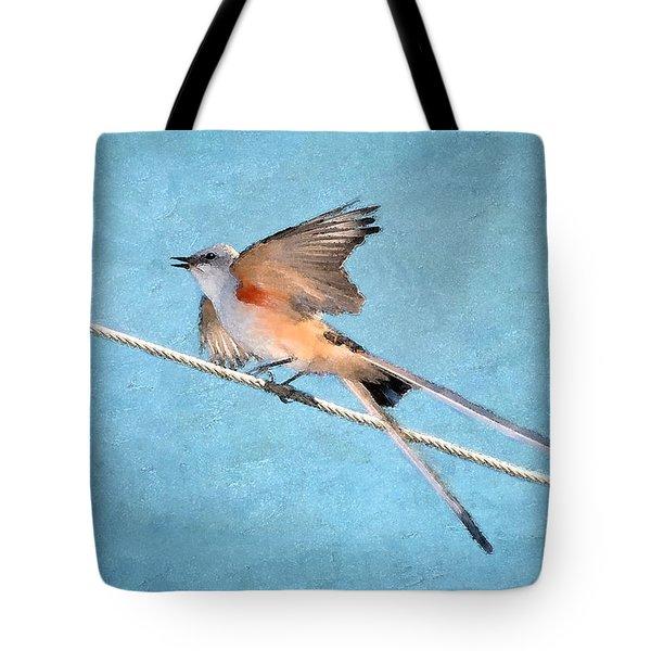 Scissor-tailed Flycatcher Tote Bag by Betty LaRue