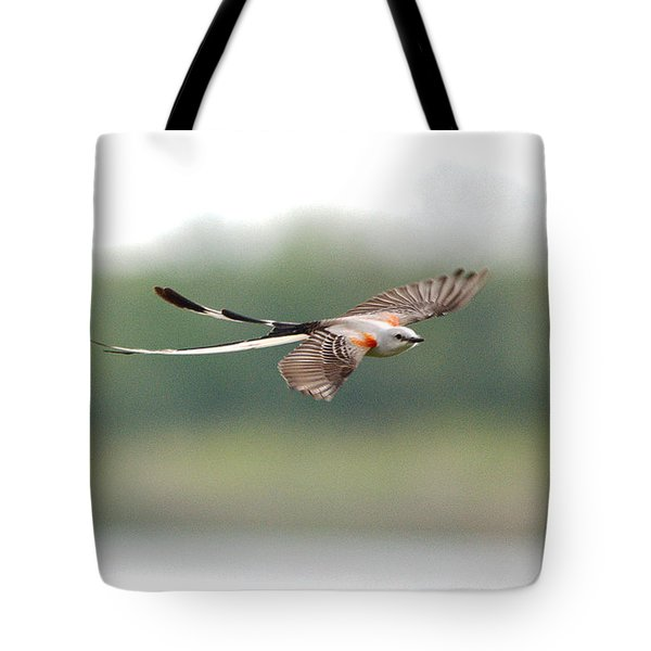 Scissor-tailed Flycatcher In Flight Tote Bag
