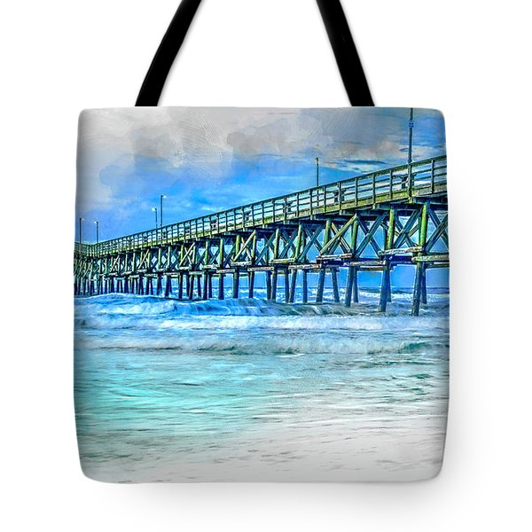 Sea Blue - Cherry Grove Pier Tote Bag