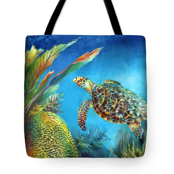 Tote Bag featuring the painting Sea Escape Iv - Hawksbill Turtle Flying Free by Nancy Tilles