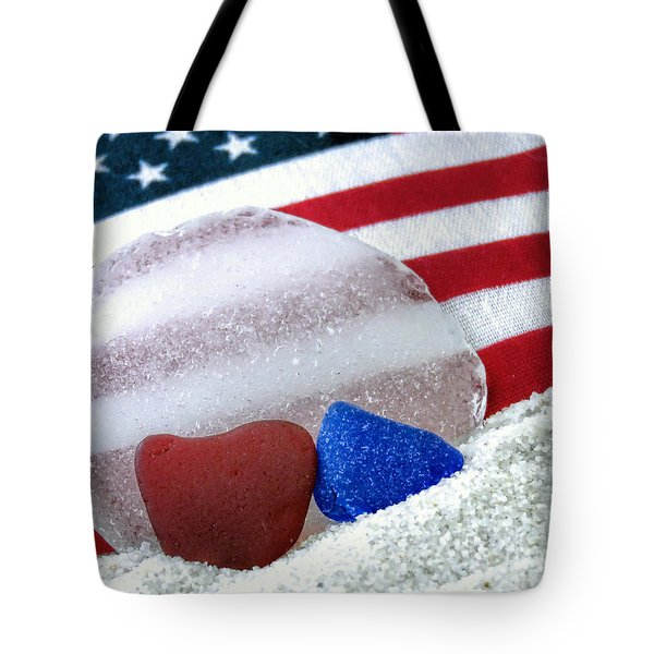 Sea Glass In Patriotic Colors  Tote Bag