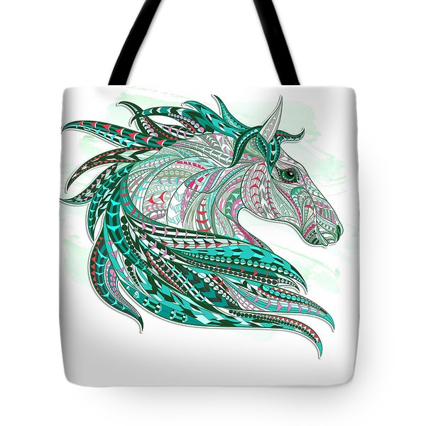 Sea Green Ethnic Horse Tote Bag