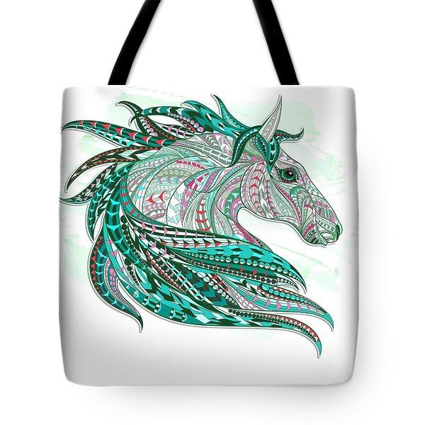 Sea Green Ethnic Horse Tote Bag