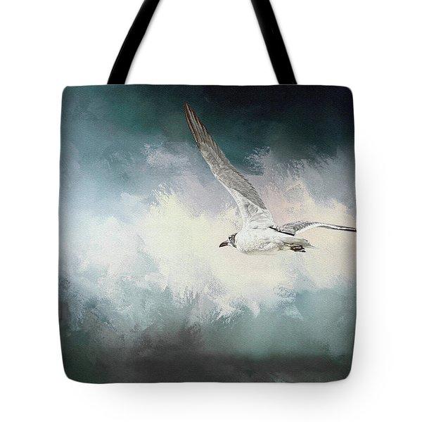 Seagull In Flight Tote Bag by Sennie Pierson