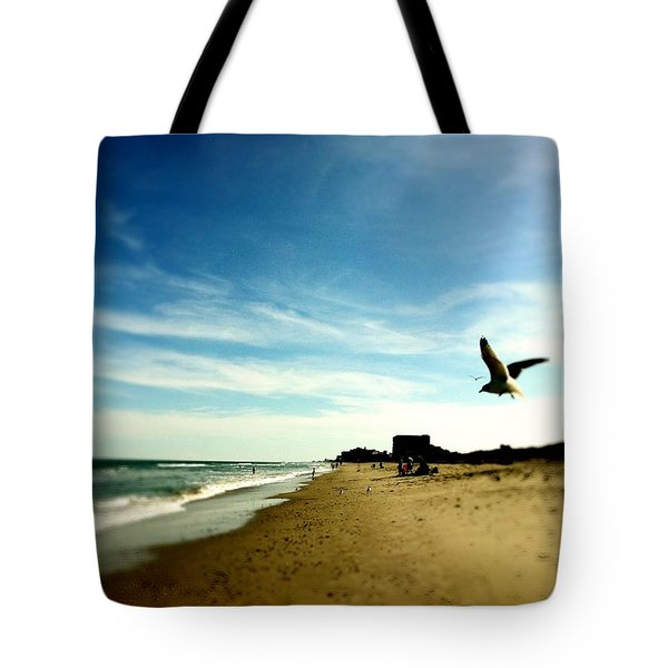 Seagulls At The Beach. Tote Bag