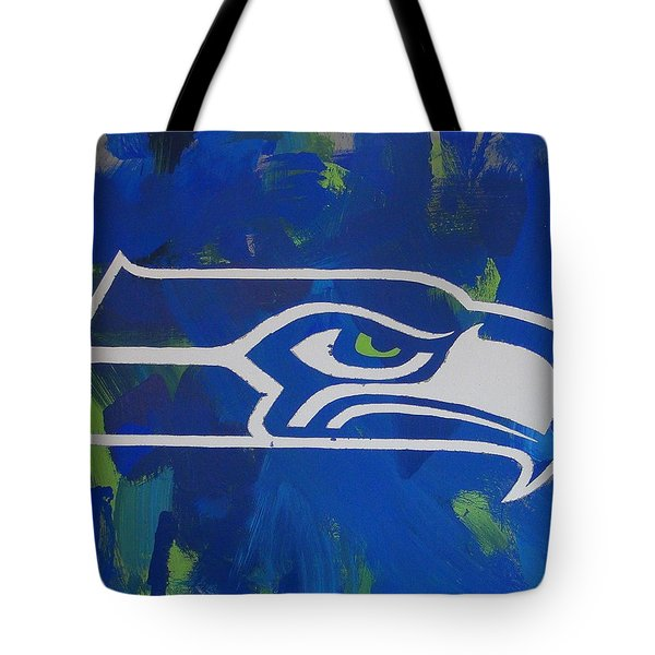 Tote Bag featuring the painting Seahawks Fan by Candace Shrope