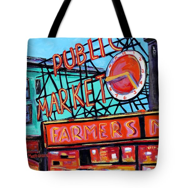 Tote Bag featuring the painting Seattle Public Market by Marti Green
