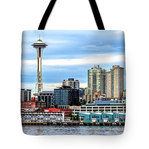 Seattle Skyline Hdr Tote Bag