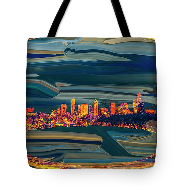Tote Bag featuring the digital art Seattle Swirl by Dale Stillman