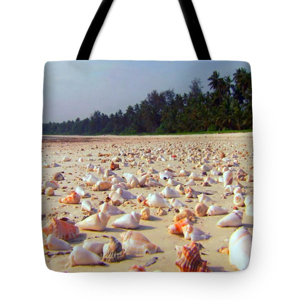 She Sells Sea Shells At The Sea Shore Seaweed And Sea Shells Beaches Of Zanzibar Tanzania Tote Bag
